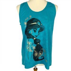 Disney Art Of Jasmine Teal Eyelet Lace Tank Top